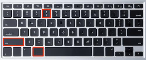 cara print screen menggunakan  command + shift + 4