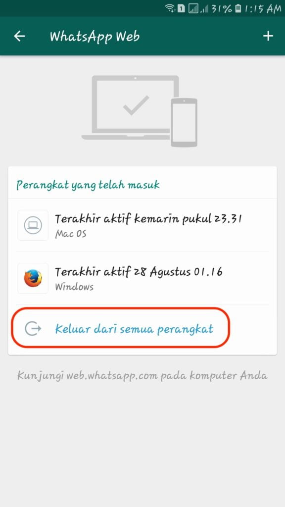 Logout  WhatsApp