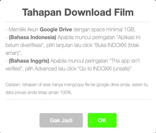 Tahapan Download Film IndoXXI